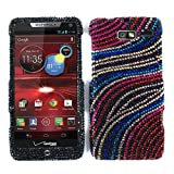 Cell Armor Motorola Droid Razr M 4G Let Deluxe Snap On Case - Retail Packaging - Colorful Wave Lines On Black
