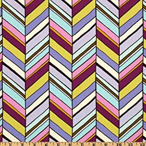 44'' Wide Michael Miller Botanika New Chevron Violet Fabric By The Yard