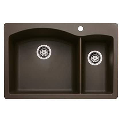 Blanco 440197 Diamond 1-1/2 Bowl Silgranit II Sink, Café Brown