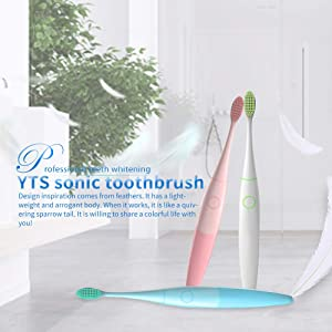 Sonic Electric Toothbrush Kids Electric Travel Toothbrush With 2-Minute Timer ,1 packing with 2 Brush heads Waterproof-Electric Toothbrush White (Color: White)