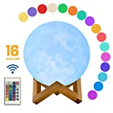 Zeegine 16 Colors 3D Printed Moon Lamp, Unibody Forming Moon Light,Touch&Remote&PP Control lamp, USB Recharge Desk Lamps, Christmas or Birthday Gift for Baby and Kids (3.9''/10cm)