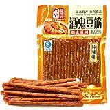 DD2 Chinese Special Snack Food: Spicy Gluten Wei Long La Tiao La Pian Dou Jin (酒鬼豆筋80g*4packs)