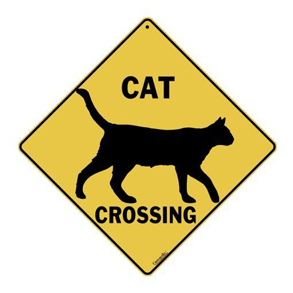 "Cat Silhouette Crossing 12"" X 12"" Aluminum Sign"