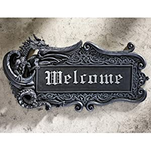 Medievil Resin Welcome Dragon Wall Plaque Gothic Wall Art from wellmadefairtrade