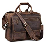 Kattee Crazy Horse Leather Briefcase Shoulder Business Laptop Bags Tote (Coffee) (Color: Coffee, Tamaño: Free Size)