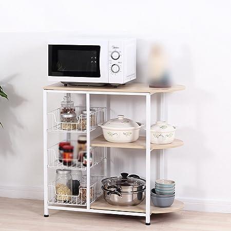 Rack, cocina Hogar Multifunción Microondas Cocina de horno Electrodomésticos Estantería Estante de almacenamiento incorporado Estantes de tazón