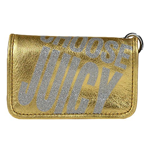 Juicy Couture Juicy Couture Metallic Leather Skinny ID Case w/ keychain gold