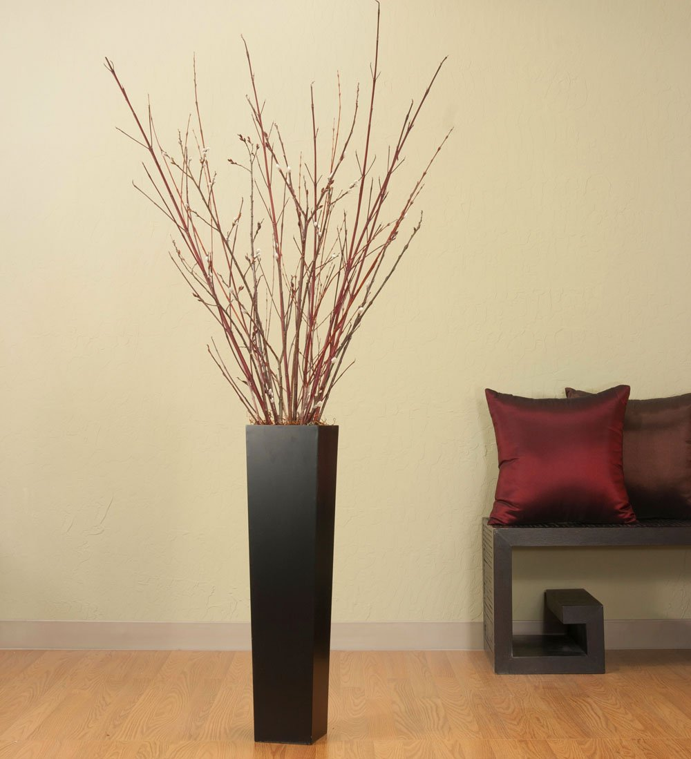 ... Tall Black Floor Vase Red Dogwood & Pussy Willow Bran Decorative Vases