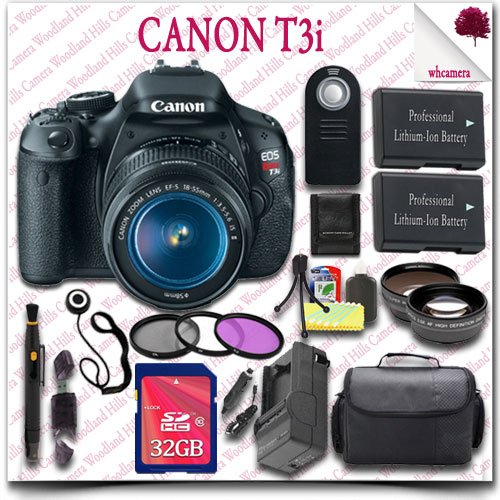 Canon Eos Rebel T3I Camera With Ef-S 18-55Mm Is Ii Lens + Wireless Remote + Wide Angle Lens / Telephoto Lens + 3Pc Filter Kit + 32Gb Sdhc Class 10 Card + Slr Gadget Bag 20Pc Canon Saver Bundle