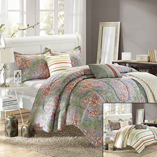 Chic Home Antica 6-Piece Luxury Reversible Comforter Set With Quilt, Shams And Decorative Pillows, King Size, Printed front-909602