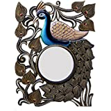 Ghanshyam Art Wood Peacock Wall Mirror (45.72 Cm X 4 Cm X 60.96 Cm, GAC065)