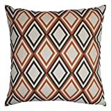 JinStyles Cotton Canvas Diamond Accent Decorative Throw Pillow Cover (Brown, Orange & Beige, Square, 1 Cover for 20 x 20 Inserts)