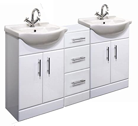 1400mm High Gloss White Bathroom Furniture Set - 2 x Vanity Basin Cabinet Units & Cupboard Drawer