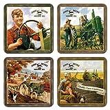 John Deere Coaster Set - Metal / Cork - Nostalgic - 46015