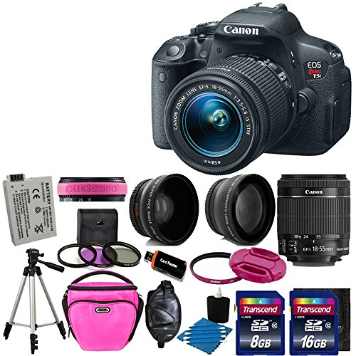 Canon EOS Rebel T5i 18.0 MP CMOS Digital Camera Digital SLR Camera With HD Video Recording With canon EF-S 18-55mm f/3.5-5.6 IS [Image Stabilizer] II Zoom Lens+ 58mm 2x Professional Lens +High Definition 58mm Wide Angle Lens + Spare Battery + UV Filter Kit With 24GB Complete Deluxe Accessory Bundle
