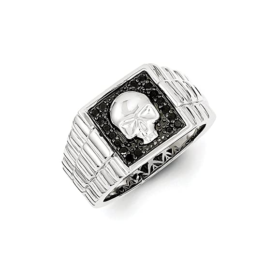 Black Bow Jewellery Company : 1/5 Ctw Black Diamond Square Skull Sterling Silver Tapered Ring