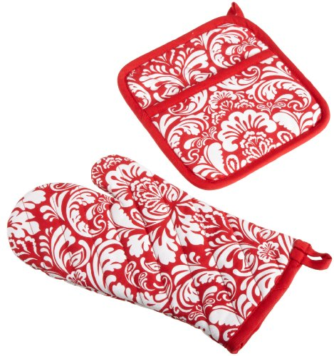 DII 100% Cotton, Machine Washable, Everyday Kitchen Basic, Damask Printed Oven Mitt and Potholder Gift Set, Tango Red