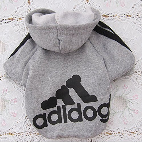 Green House - Pet Dog Cat Sweater Puppy T shirt con cappuccio cappotto caldo Clothes Apparel Grigio (L)