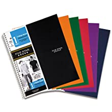 Five Star Wirebound Notebook, 1-Subject, 100-Count, College Rule, Black (72057)