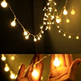 Dailyart Globe String Light,LED Starry Light Fairy Light for Wedding,Xmas Party (Warm White, Battery-powered, 13feet/4meters) (Color: white, Tamaño: 2700K Warm White)