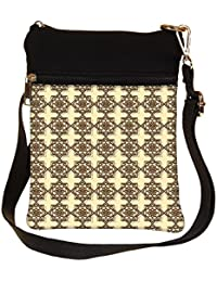 Snoogg Abstract Brown Pattern Design Cross Body Tote Bag / Shoulder Sling Carry Bag