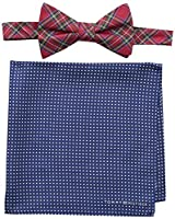 Tommy Hilfiger Men's Royal Stewart and Dot Pre-Tied Bow Tie and Pocket Square Set