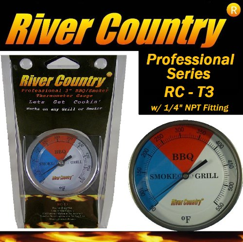 3 River Country (RC-T3) Easy Mount Adjustable BBQ, Grill, Smoker Thermometer (100 to 550 F) 2 550f 2 pack barbecues bbq smoker pit grill thermometer temp gauge