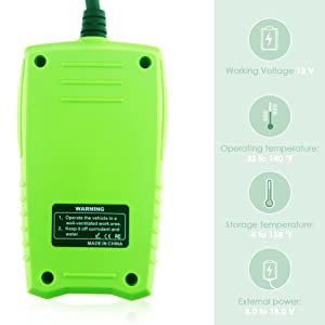JDiag FasCheck BT200 12V Auto Battery Tester Car Cranking and Charging System Test Scan Tool Battery Analyzer Diagnostic Tool for CCA MCA JIS DIN IEC EN SAE GB etc (Color: Green, Tamaño: Small)