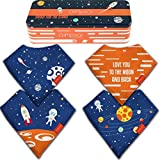 Baby Bandana Drool Bibs for Girls and Boys Drooling Absorbent and Teething, Pack of 4 Bib set with Tin Gift Box (Color: Astronaut, Tamaño: X)