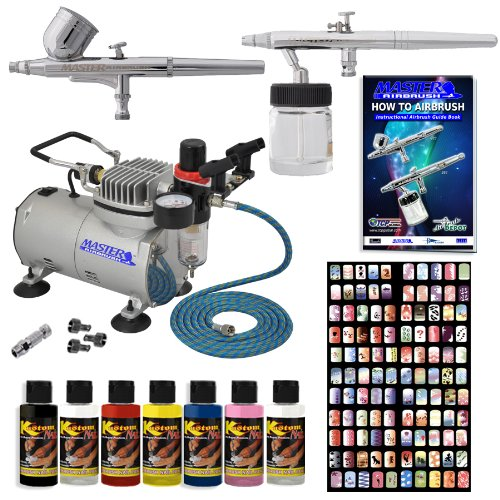 Master Airbrush Finger Nail Decorating System. 2 Airbrushes, Air Compressor, Stencil Set of Over 100 Designs, 6' Hose, Airbrush Holder, 3 Quick Couplers, Black, Red, White, Blue, Yellow & Pink Nail Paint Kit in 2-oz Bottles, Airbrush Cleaner, & (Free) How to Airbrush Training Book to Get You Started.
