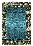 Designer Teppich Maya Muster Borduere Tuerkis Meliert, Grösse:120×170 cm