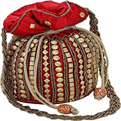 geroo jaipur silk potli bag and hand bag