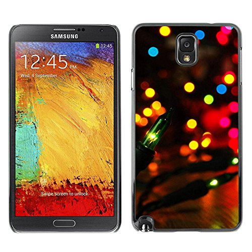 Rubber Case Hard Shell Cover Protective Accessory By RAYDREAMMM - Samsung Galaxy Note 3 N9000 N9002 N9005 - Party City Lights Colorful Bright Lantern (Party City Richardson)