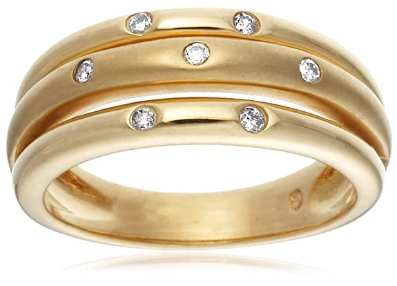 18ct Yellow Gold AMR44789 Ladies 0.10ct Diamond Band Ring