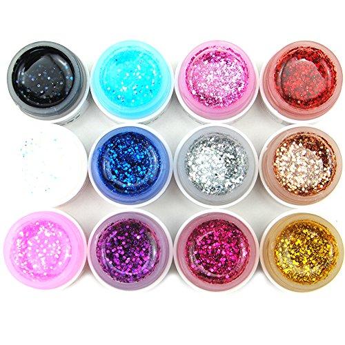 Coscelia-Lot-de-12-Couleur-Big-Glittery-Paillettes-UV-Gel-Vernis--Ongles-Dcoration-Manucure