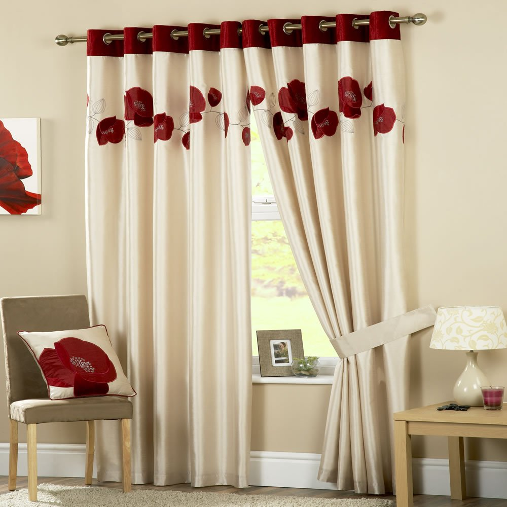 Danielle Eyelet Curtains Ring Top Red 90x90       Customer review and more information