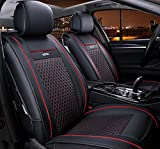 (ファーストクラス)FirstClass フロント リア シートカバー レザー ファッション エアバッグホールあり ニードルワーク 通気性に富むフルセット車シートクッション 黒い&赤い 汎用 6pcs