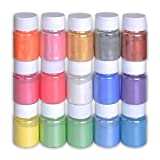 Mica Powder Slime Pigment Supply Kit Powder Resin in Bottle Organized with Pearlescent Pearl Luster, 15 Colors Fine for Soap Making/Bath Bomb DIY (Color: multicolored, Tamaño: 15)