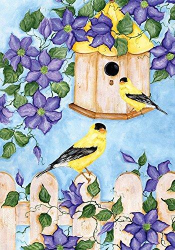Goldfinches Spring House Flag Floral Birdfeeder 28