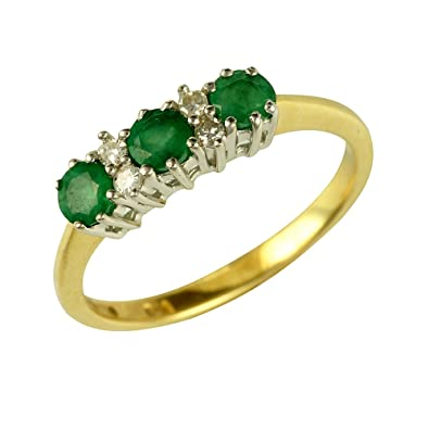 Ivy Gems 9ct Yellow and White Gold Emerald and Diamond Trilogy Ring