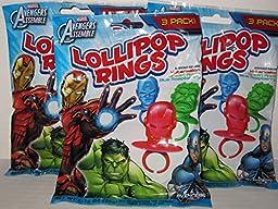 Marvel Avengers Lollipop Rings 3 Packs of 3 Rings (9 Rings Total)