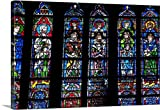 Premium Thick-Wrap Canvas Wall Art Print entitled Stained glass windows inside Notre Dame Cathedral Paris