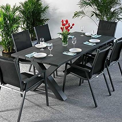 Martha Tisch & 6 Stuhle - GRAU | Gartenmöbel-Set mit ausziehbarem 200cm Tisch