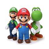 CartUp  Super Mario Bros - Mario Luigi Yoshi- PVC Action Figures - Collectible Model Toys - 3pcs/Set- 4-5 Inches (Color: Multicolored)