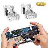PUBG Mobile Game Controller, Ismael Erickson Phone Trigger Cellphone Gamepad Joystick Sensitive Shoot and Aim L1R1 White