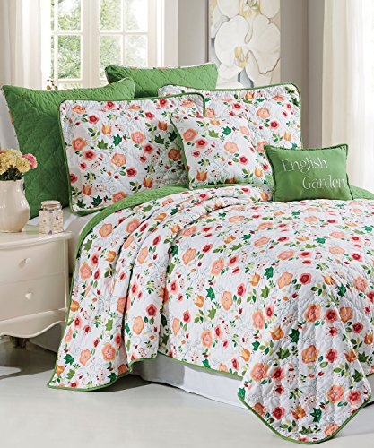 Serenta 7 Piece Printed Microfiber English Garden Bedspread Quilts Set, King (Eiderdown Quilt compare prices)