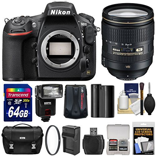 Nikon D810 Digital SLR Camera & 24-120mm f/4 VR Lens with 64GB Card + Case + Flash + GPS Unit + Battery & Charger + Kit (Nikon Camera D 3000 compare prices)
