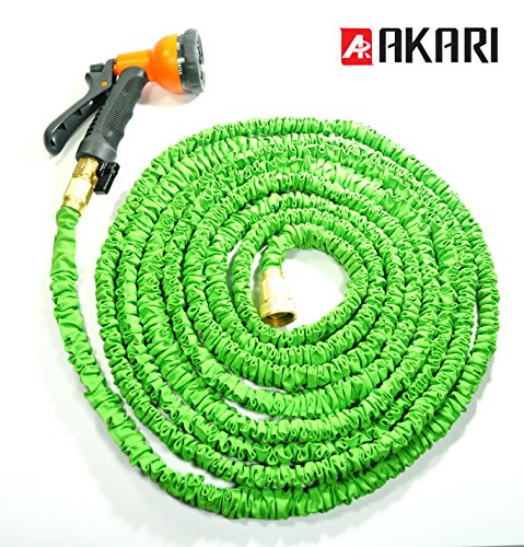 Akari 100 ft expandable garden hose with brass connector spray nozzle bundle super Expandable garden hose 100 ft