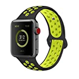 AdMaster Compatible for Apple Watch Bands 42mm 44mm,Soft Silicone Replacement Wristband Compatible for iWatch Apple Watch Series 1/2/3/4 - S/M Black/Volt                  (Color: Black/Volt, Tamaño: 42mm S/M)