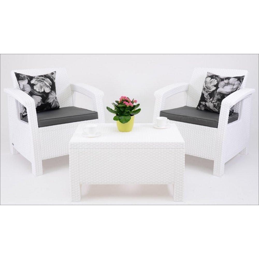 JUSThome Corfu Weekend Gartenmöbel Sitzgruppe Gartengarnitur 3 tlg. in Rattan-Optik Weiß Aschgrau